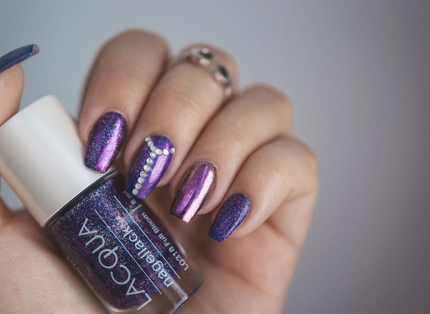 Lacqua Full Bloom & Lachrome - Purple Chrome & Glitter Nails