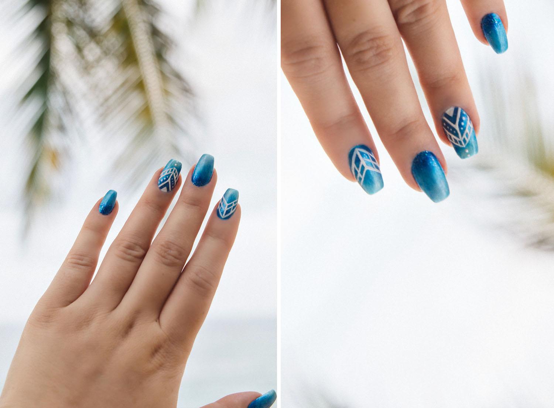 Lackryl Matte Blue Ombre Nails