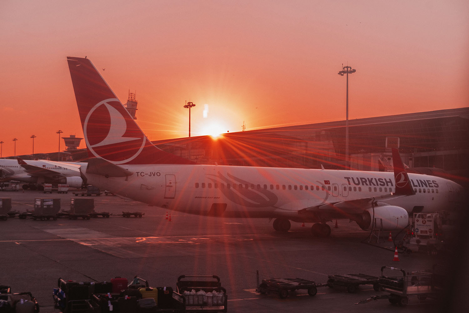 Turkish Airlines in Sunset at Instabul airport
