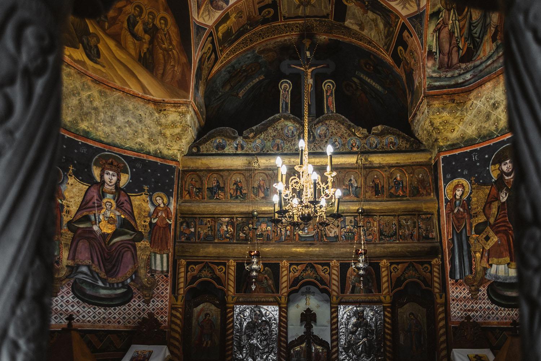 Details inside a church at Sinaia Monastery