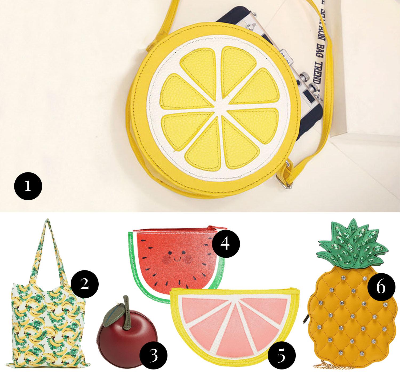Kollage med statementväskor i form av frukter