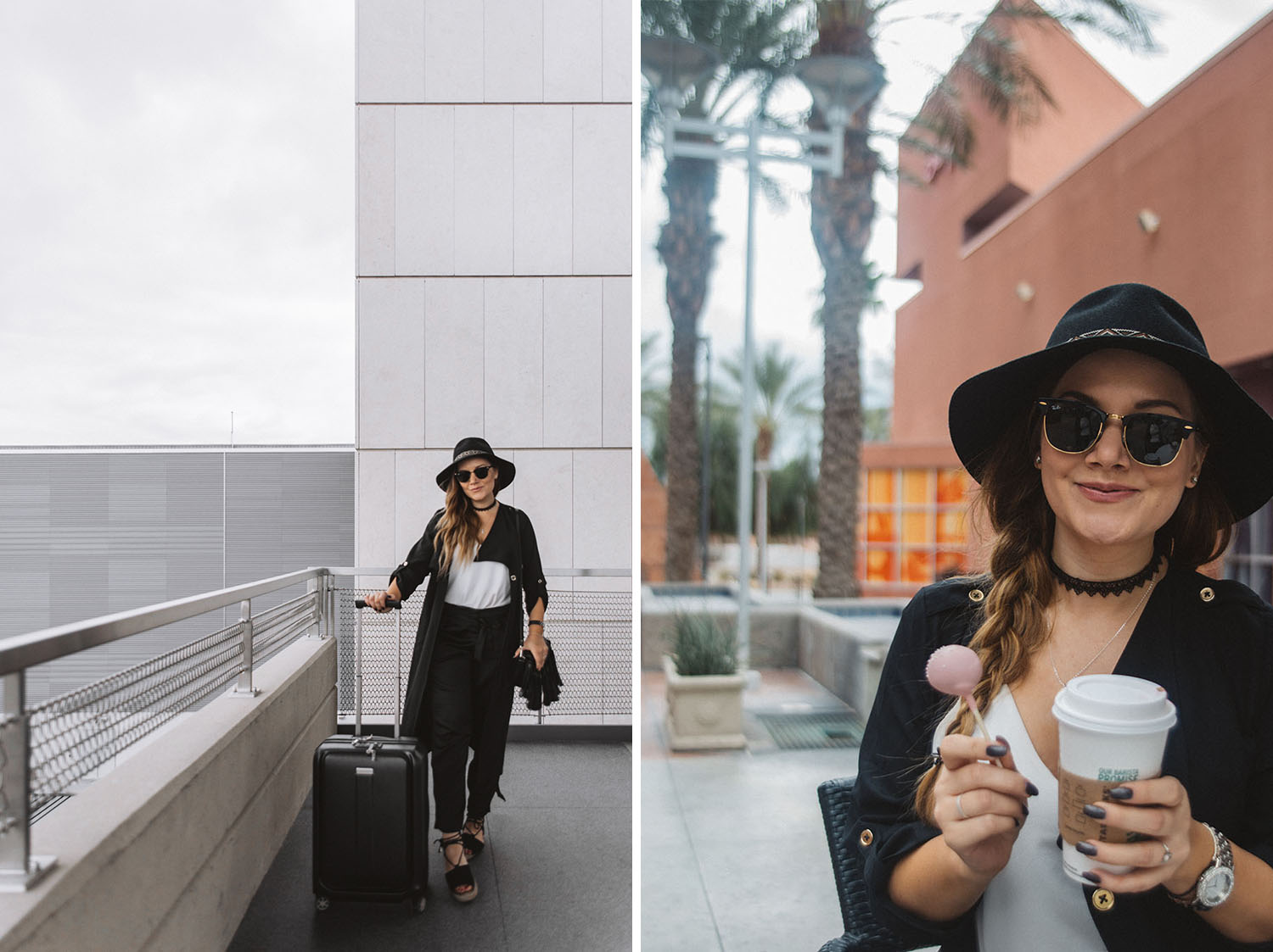 Travel in Style Outfit Idea: Hat, Sunglasses & Black Cardigan