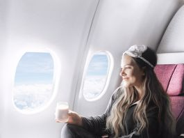 Carry-On Essentials for Long-Haul Flights / Girl in Qatar Airlines Business Class