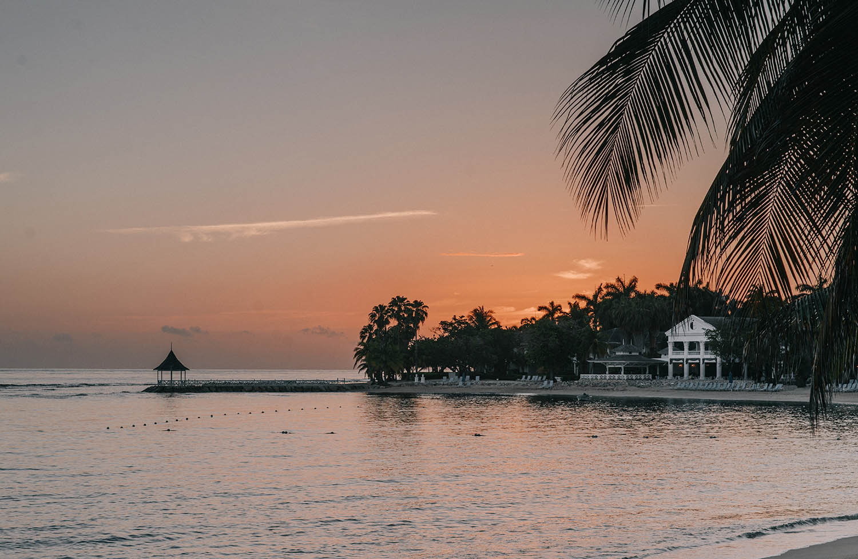 Beautiful Beach Sunset at Half Moon Luxury Resort, Montego Bay