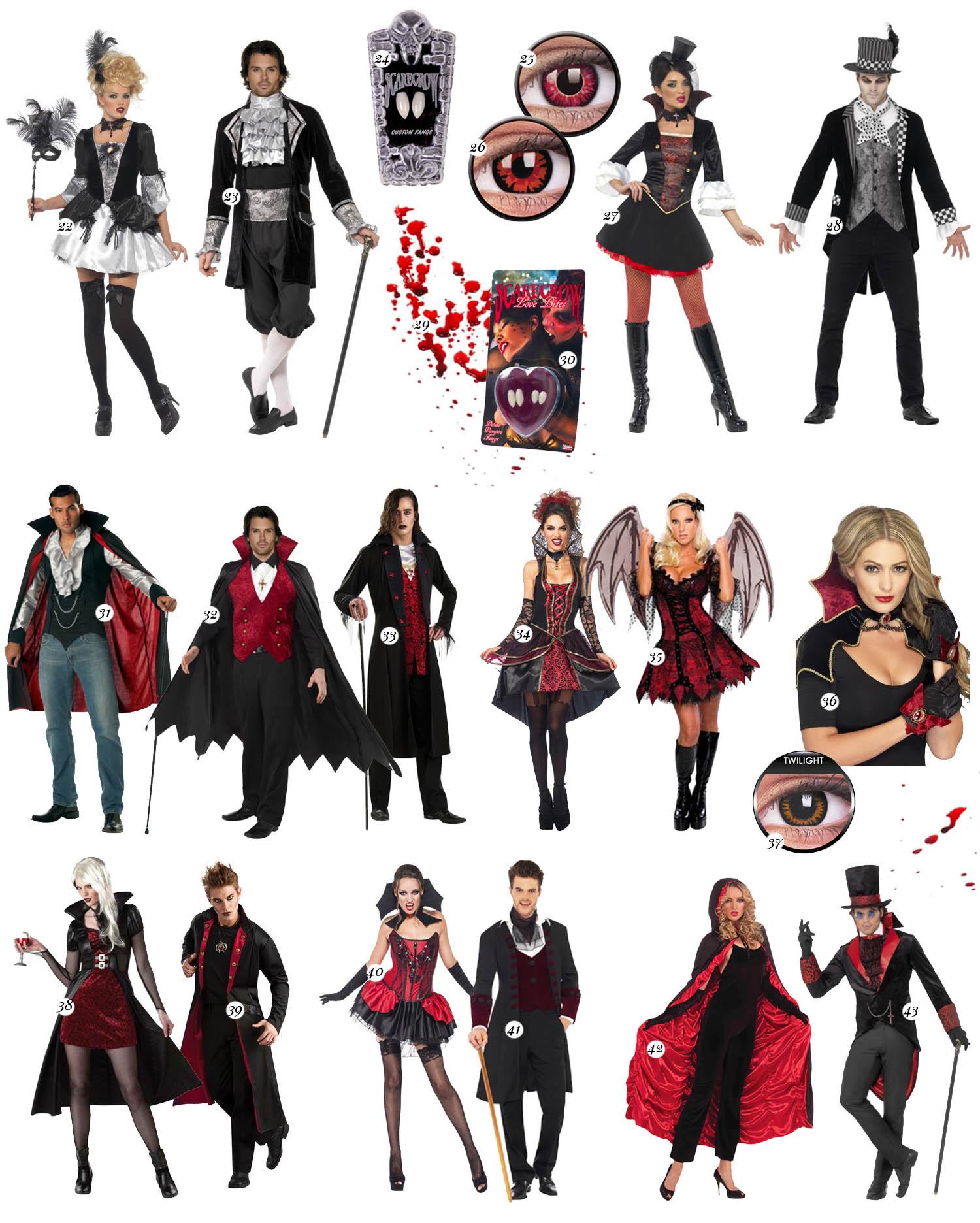 Maskeradkläder för par till Halloween - Vampyr-outfits
