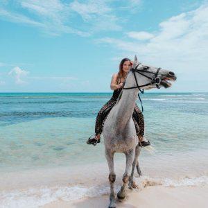 Horse-back riding on Caribbean Beach