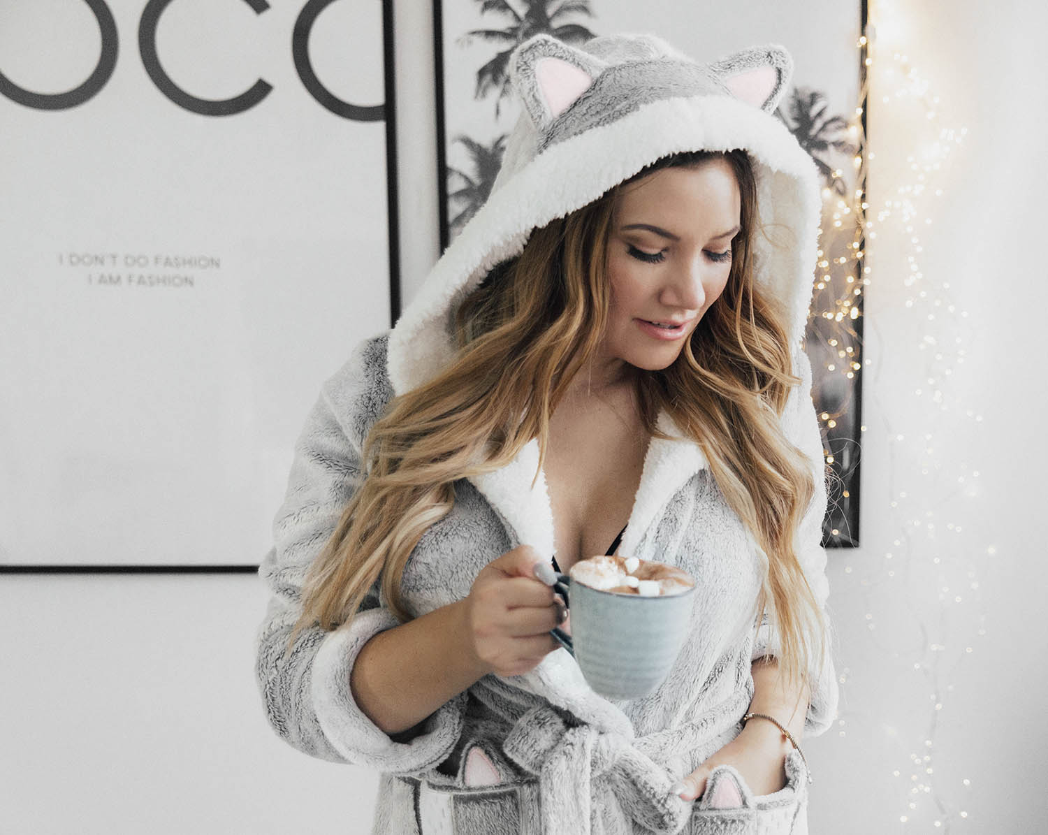 Cute & Cosy Bathrobe with Ears & Hot Chocolate