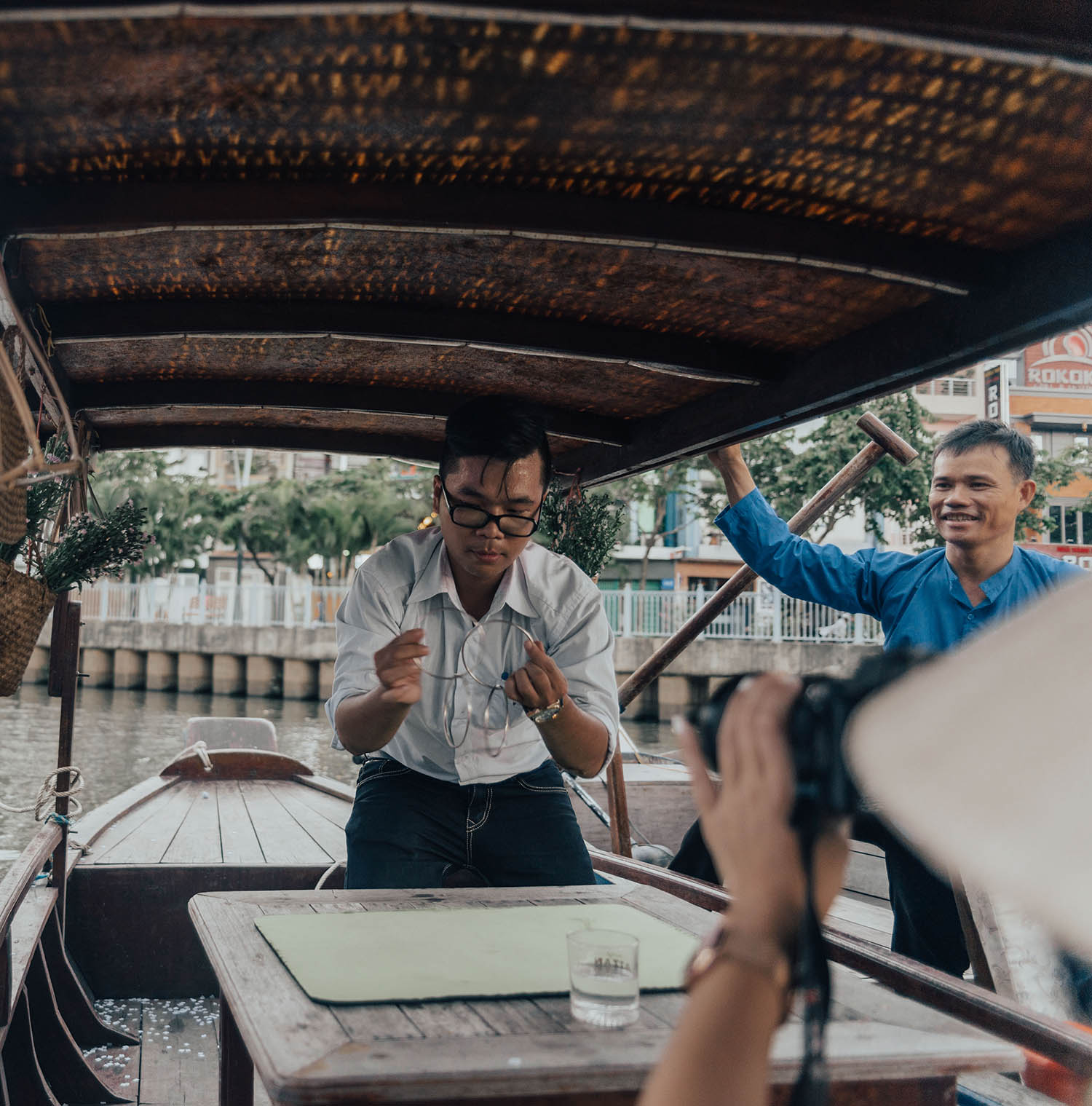 Magician performing at canal tour in Ho Chi Minh City