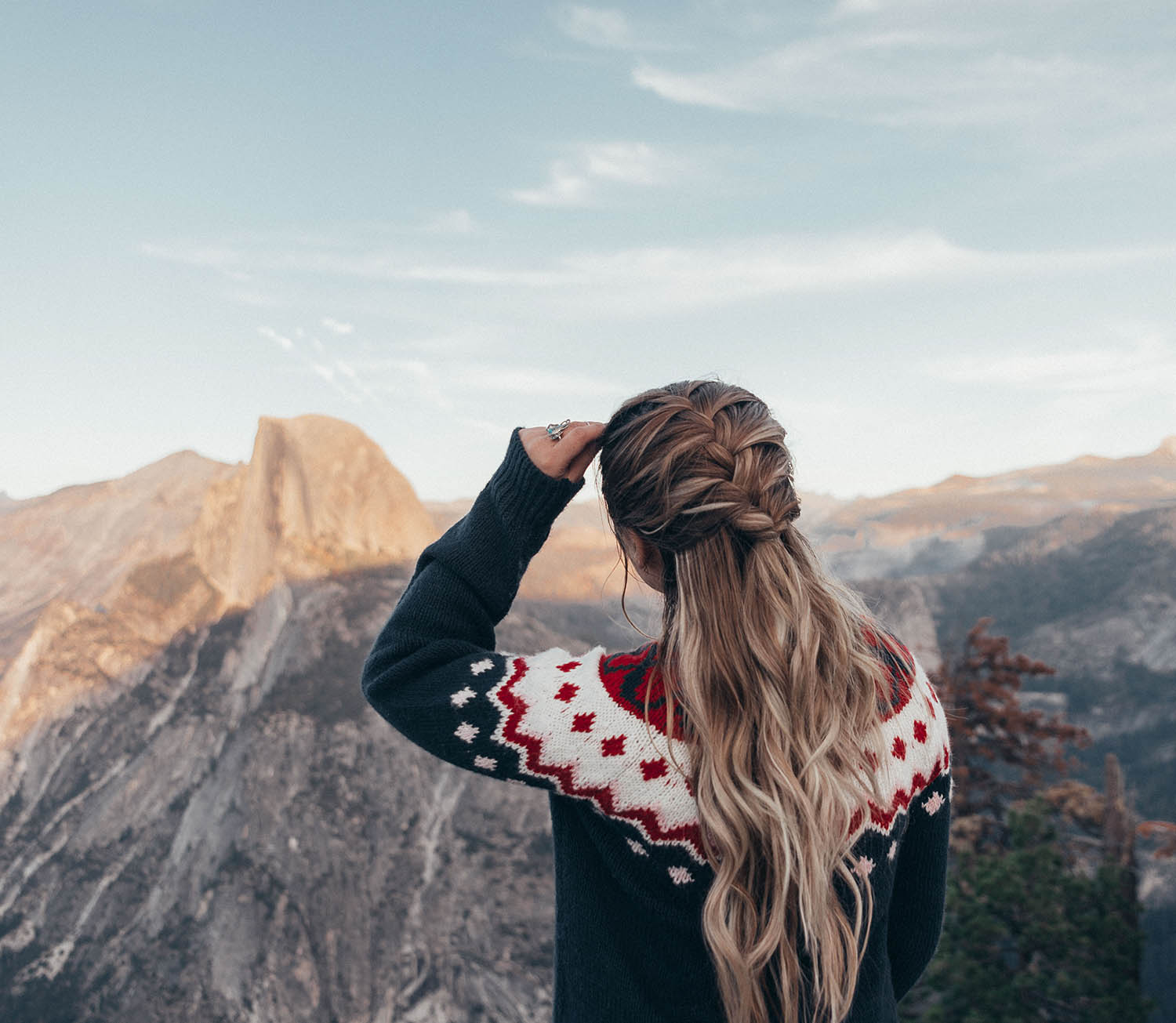 Rapunzel of Sweden Extensions - French Braid & Mountains - Yosemite National Park
