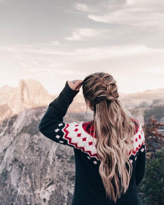 Adaras Christmas Sweater & Braid Hairstyle in Yosemite