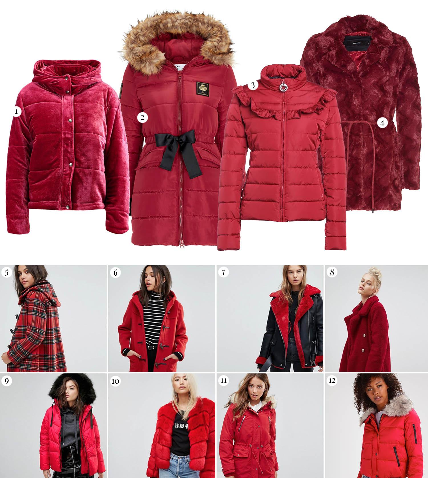 Röda vinterjackor
