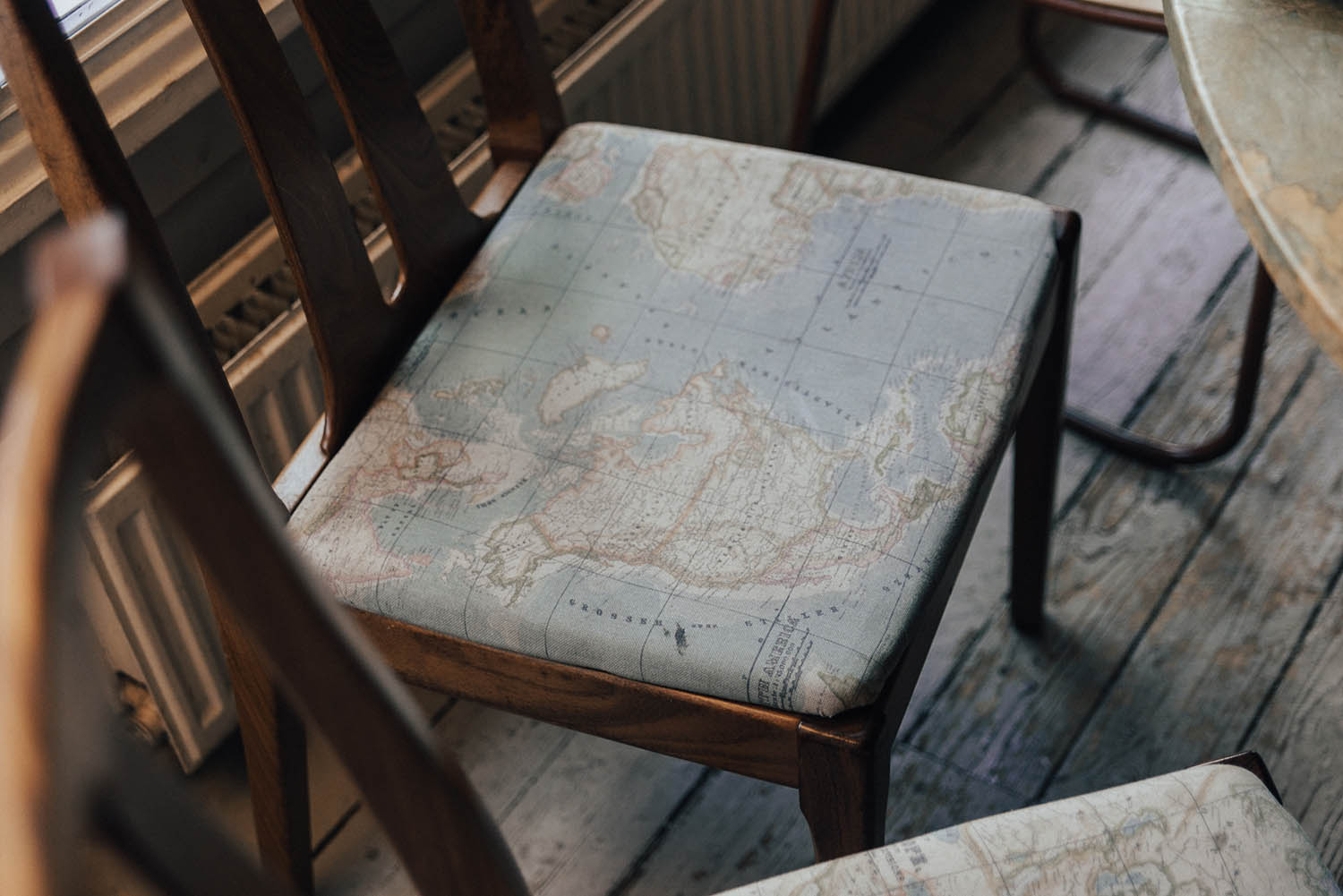 World Map Chairs at Spoon Cafe in Edinburgh