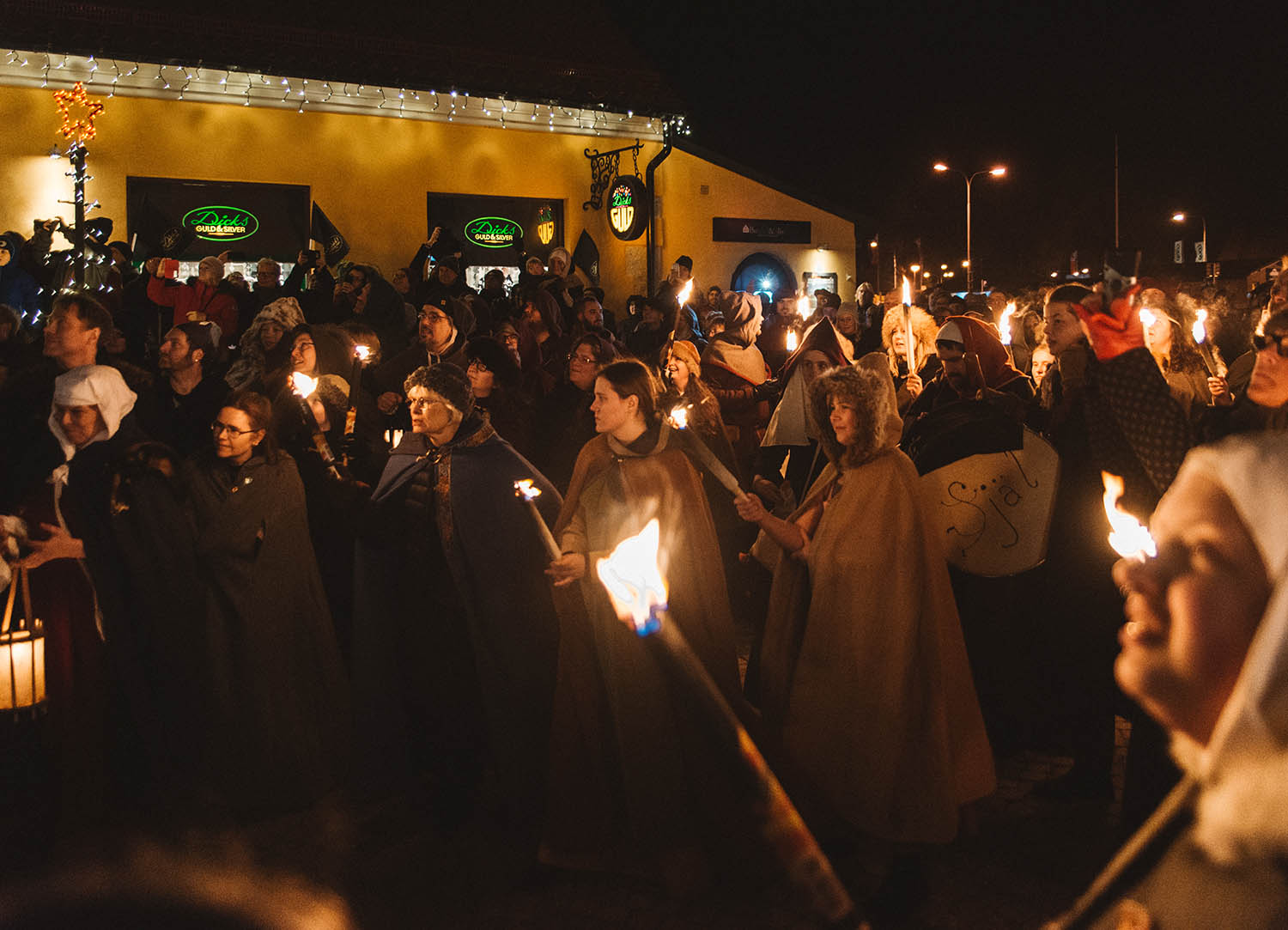 Medieval torchlight procession in Visby