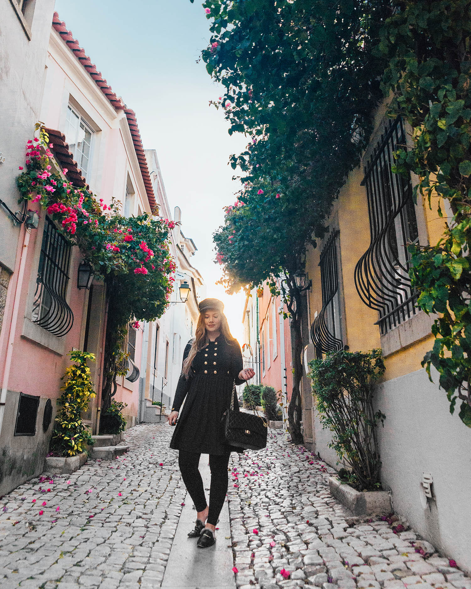 Adaras Black Wardrobe Essentials: Long sleeved black dress / Street of Cascai, Portugal