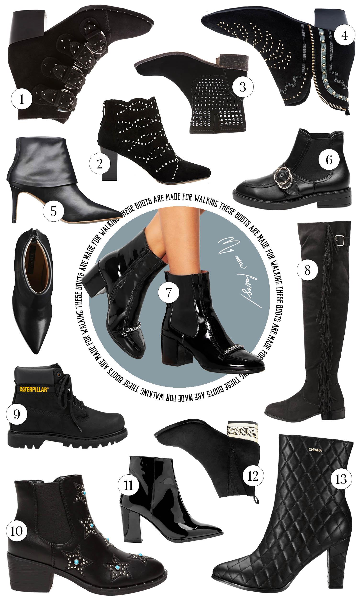 Kollage med Snygga Svarta Boots