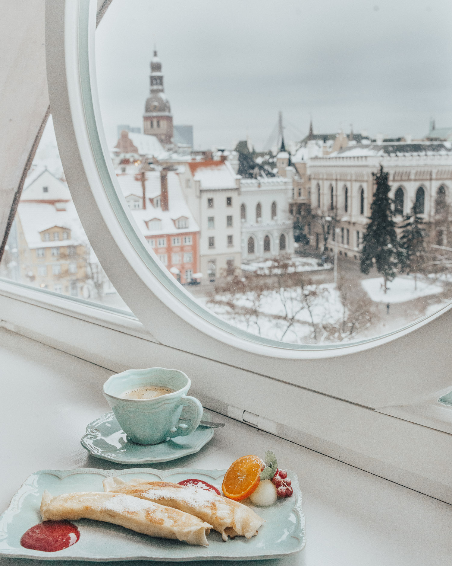 Banana pancakes for breakfast at Hotel Le Chevalier Relais, Riga