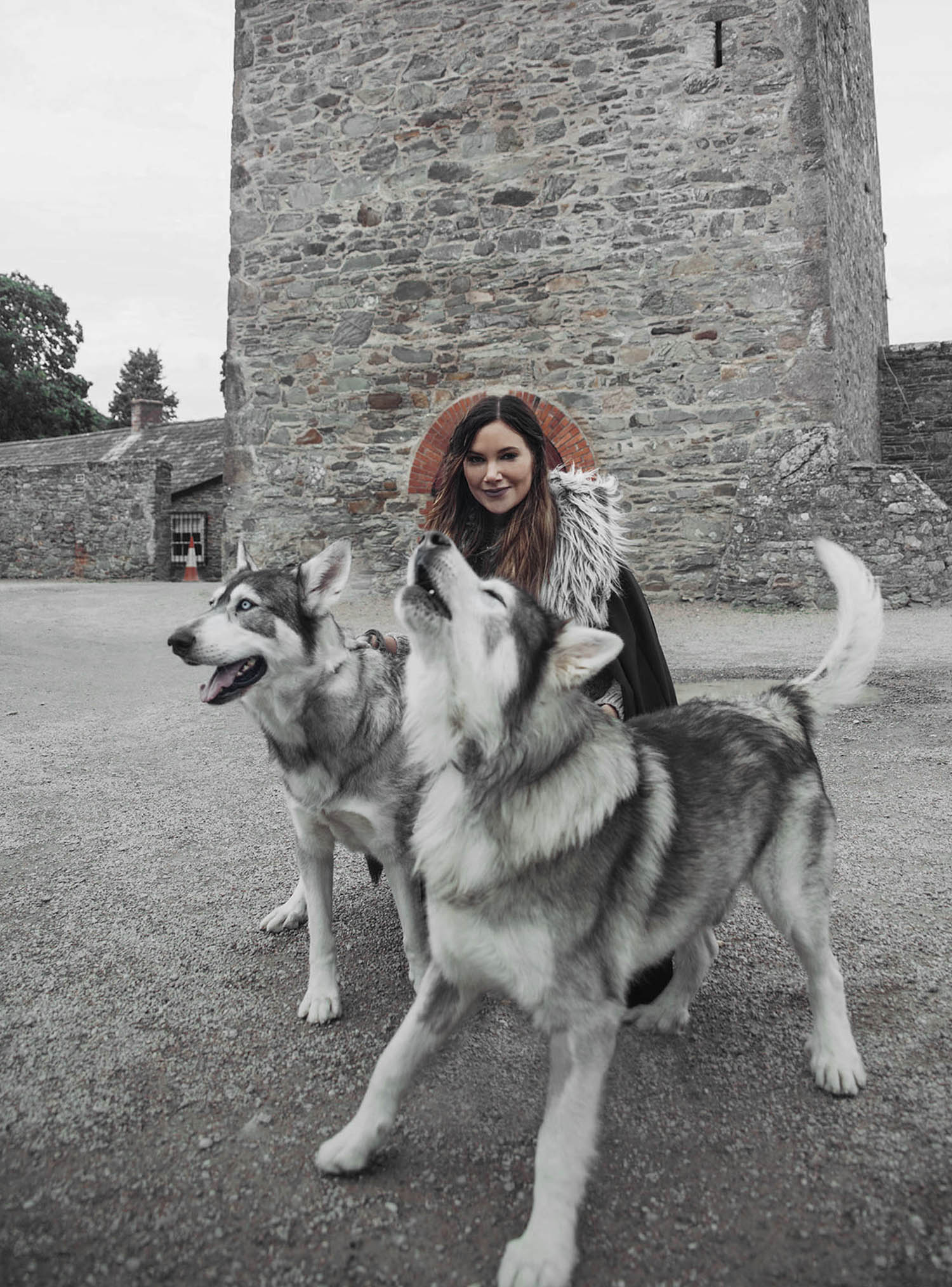 Adaras with direwolves at Winterfell, Game of Thrones Location, Northern Ireland