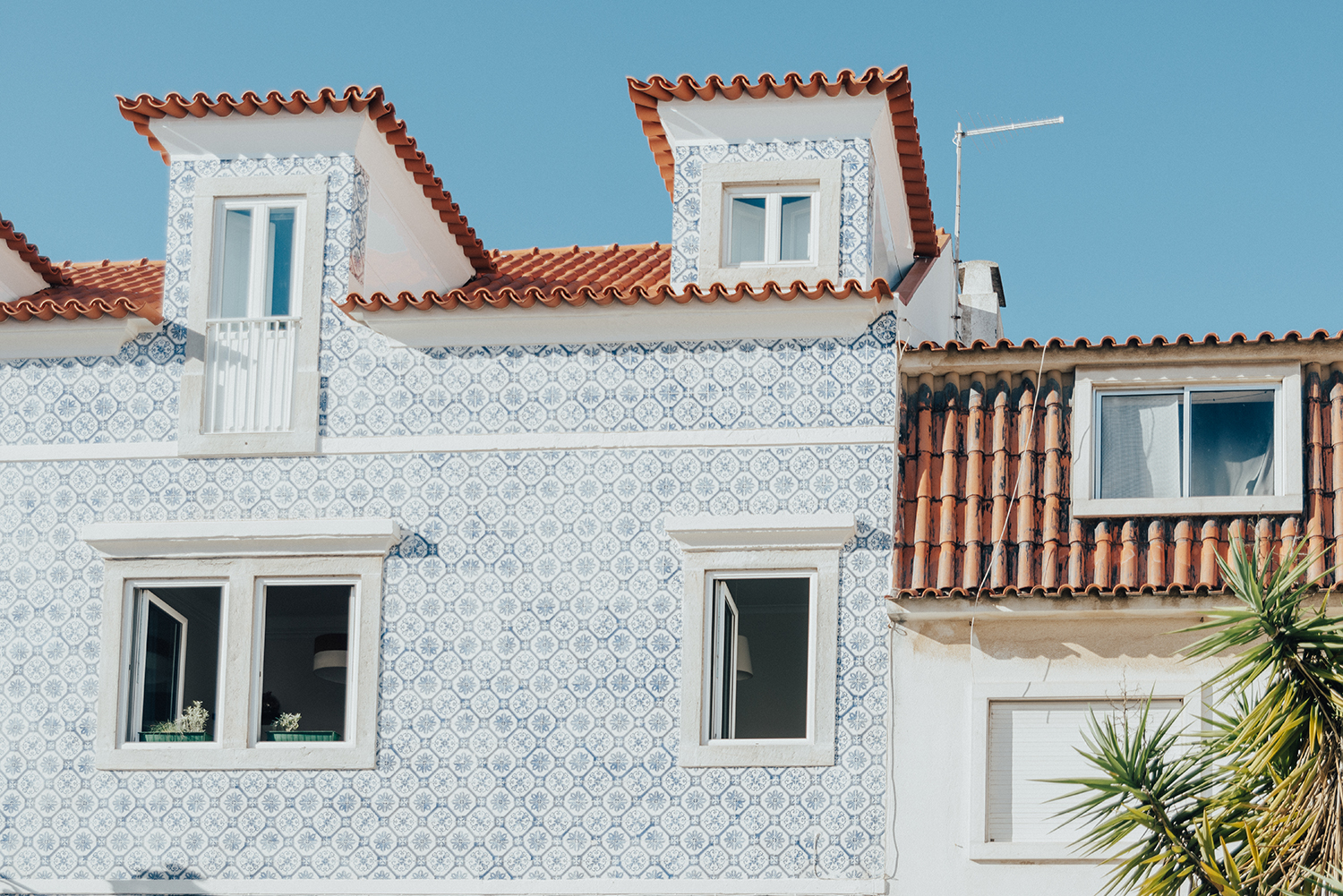 Blue Mosaic Facade in Cascais, Portugal