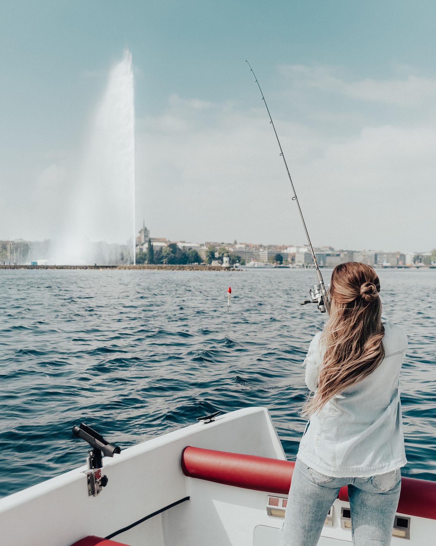 Adaras on a fishing boat trip on Lake Geneva - Jet d'eau in the background