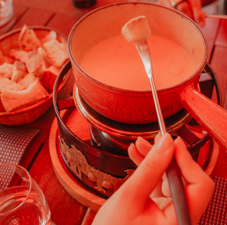 Swiss fondue at Cafe Restaurant de l'hotel de Ville, in Geneva