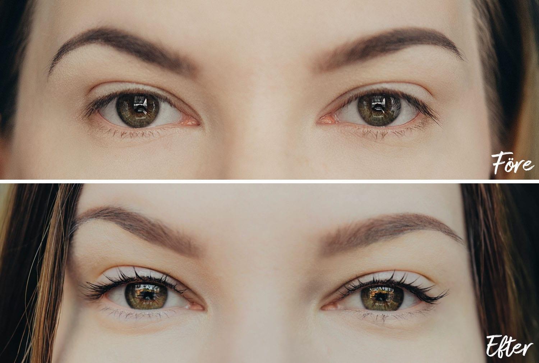Före & Efter Yumi Lashes - Naturlig ögonfransförlängning