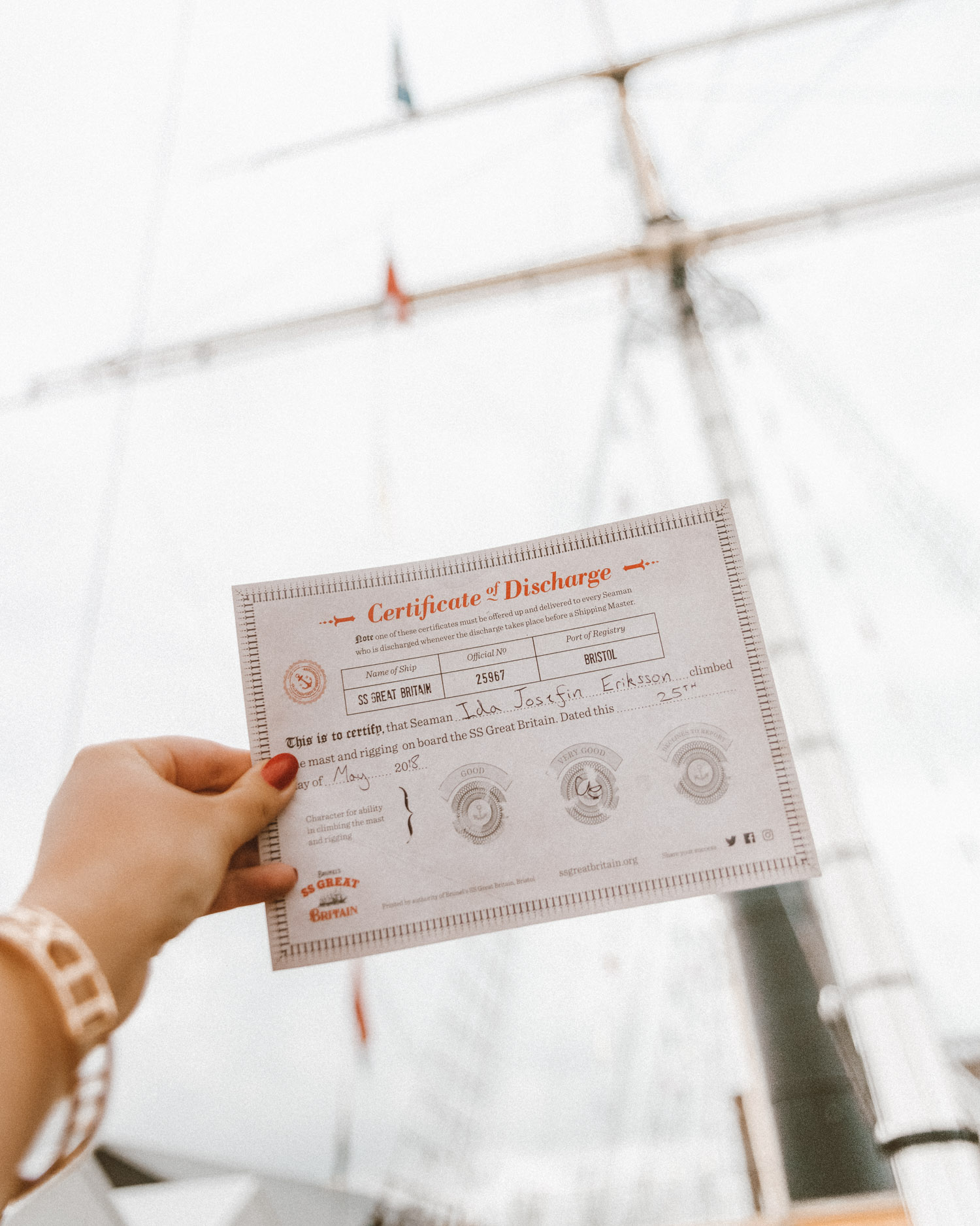 Certificate of Discharge |SS Great Britain