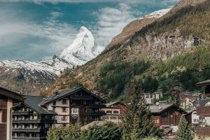 The Matterhorn over the Zermatt Village