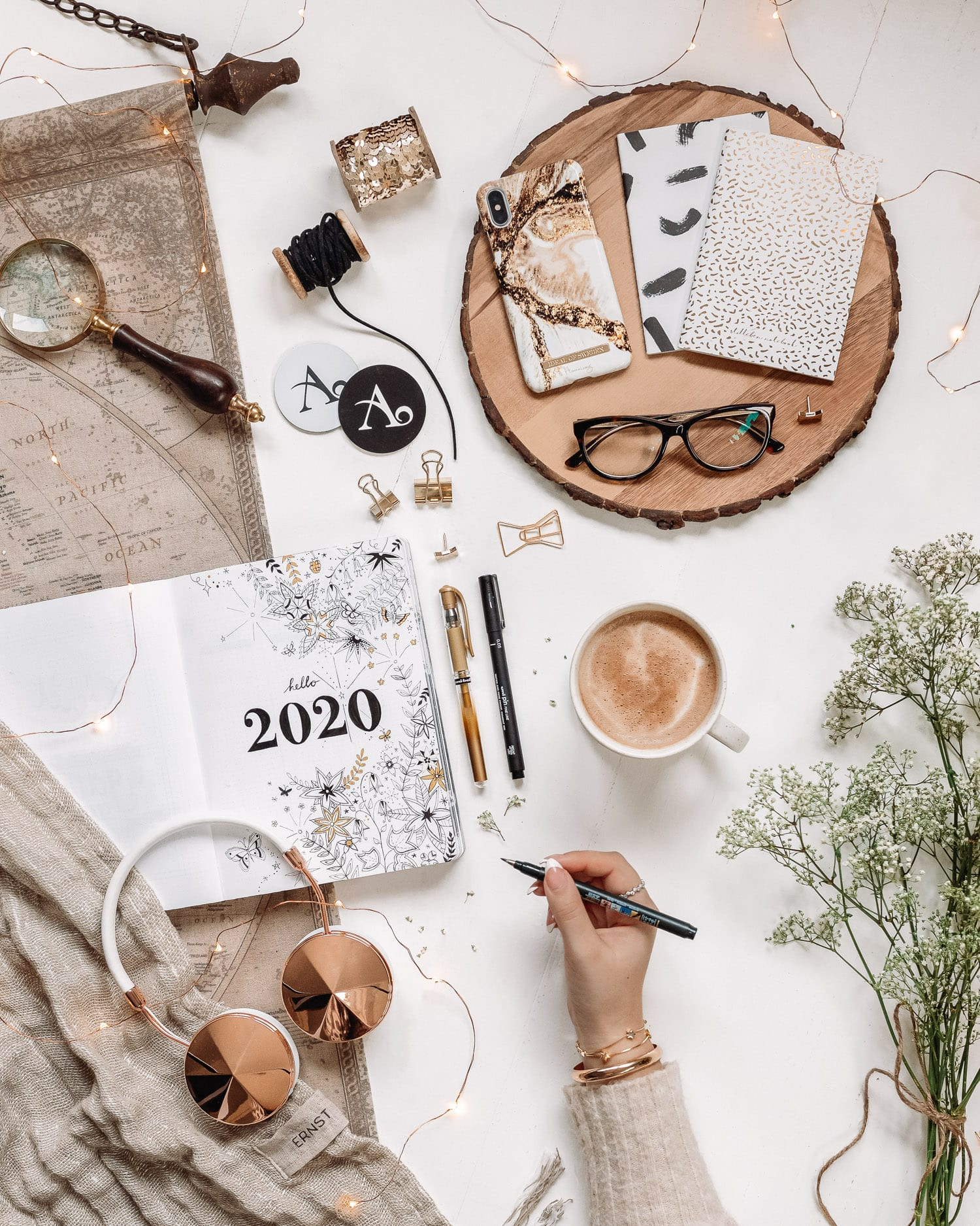 Flatlay with Decorated Bullet Journal Cover for 2020