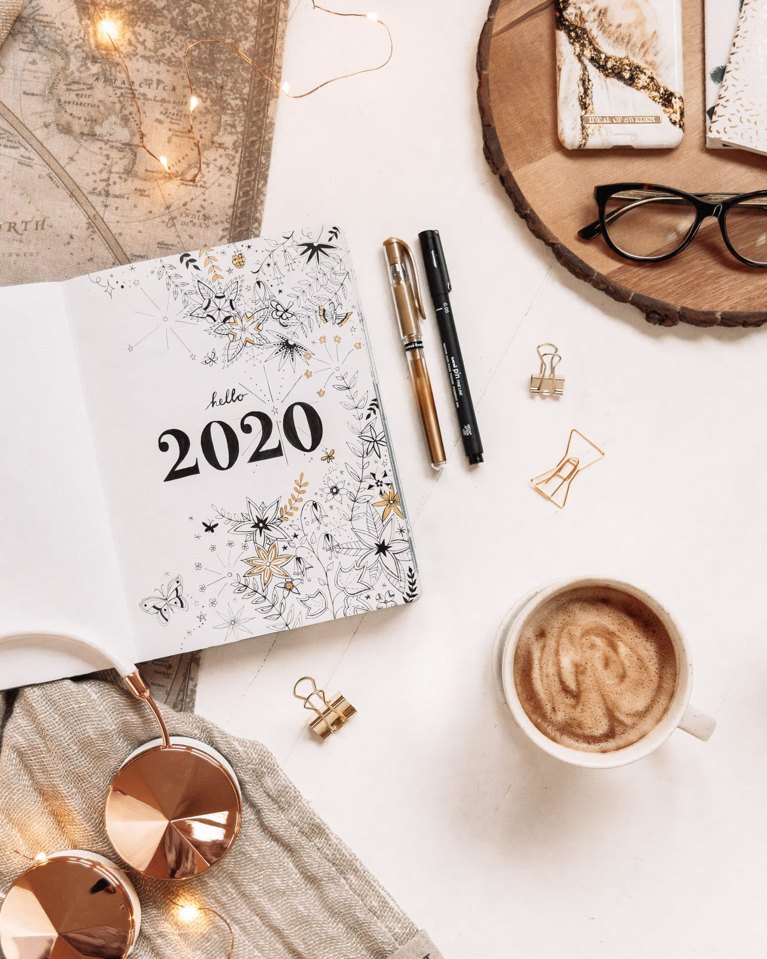 Hello 2020 - Floral Bullet Journal Cover