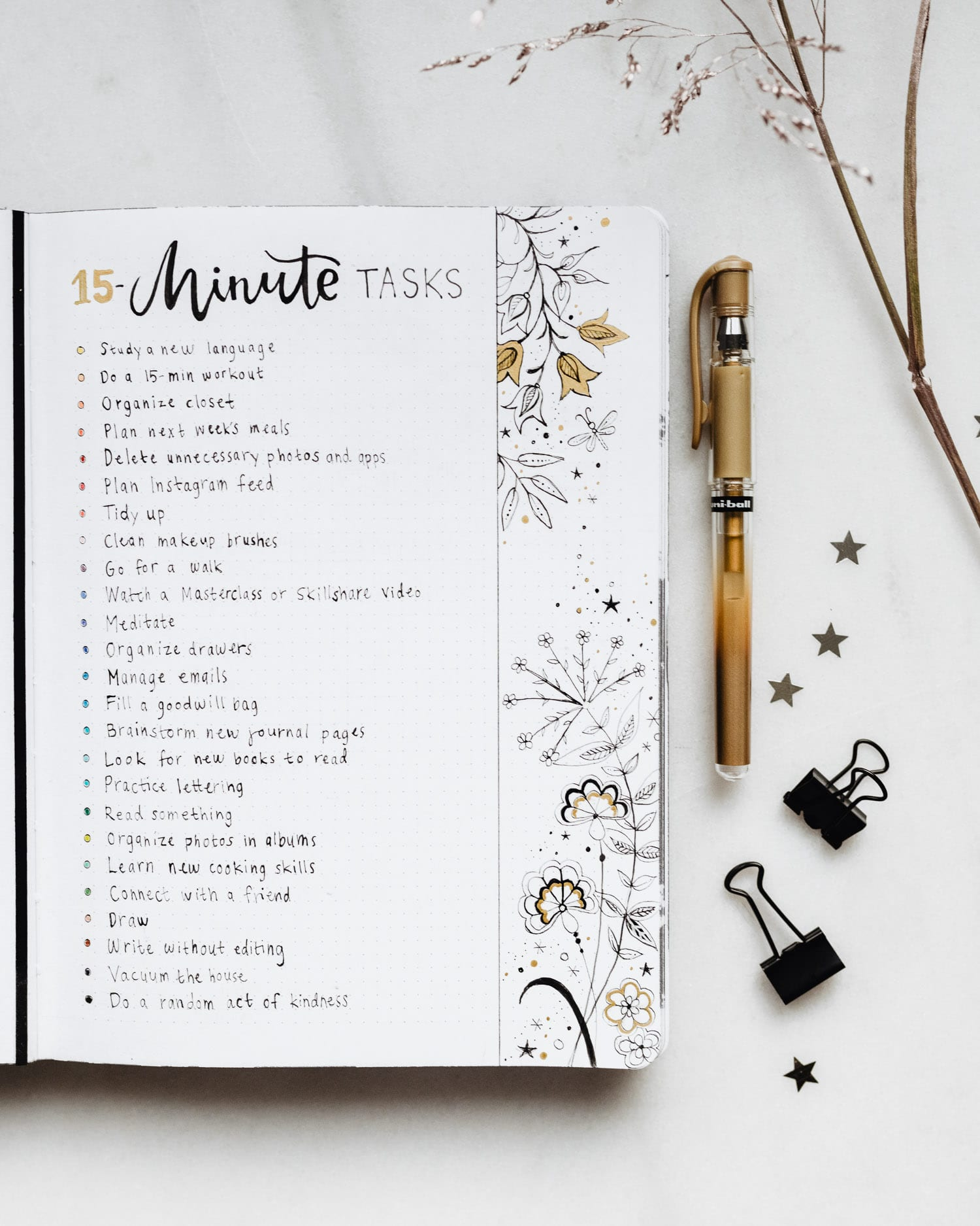 Bullet Journal Collection Idea: 15-Minute Tasks