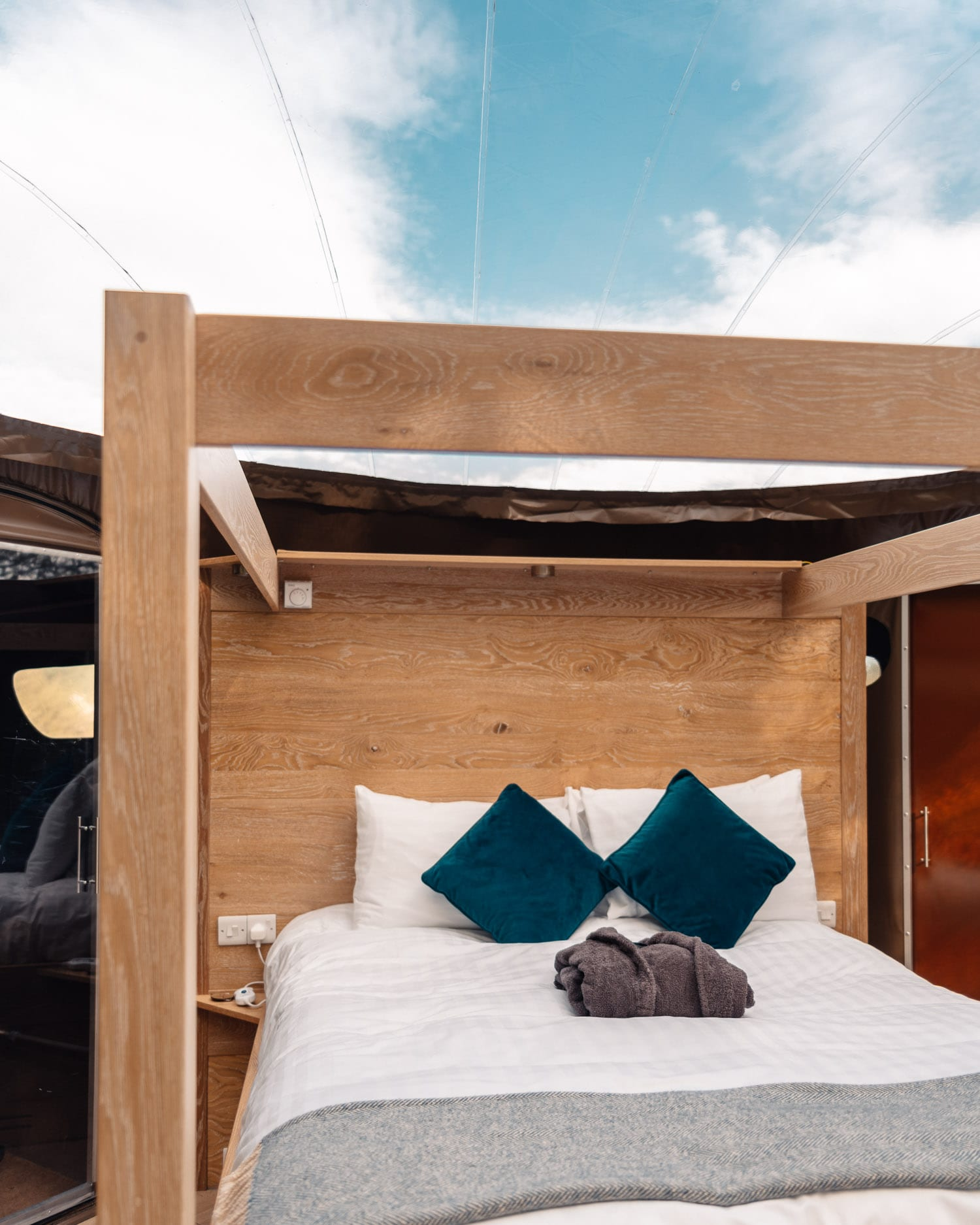 Four-poster Bed at Finn Lough Bubble Domes Hotel in Northern Ireland