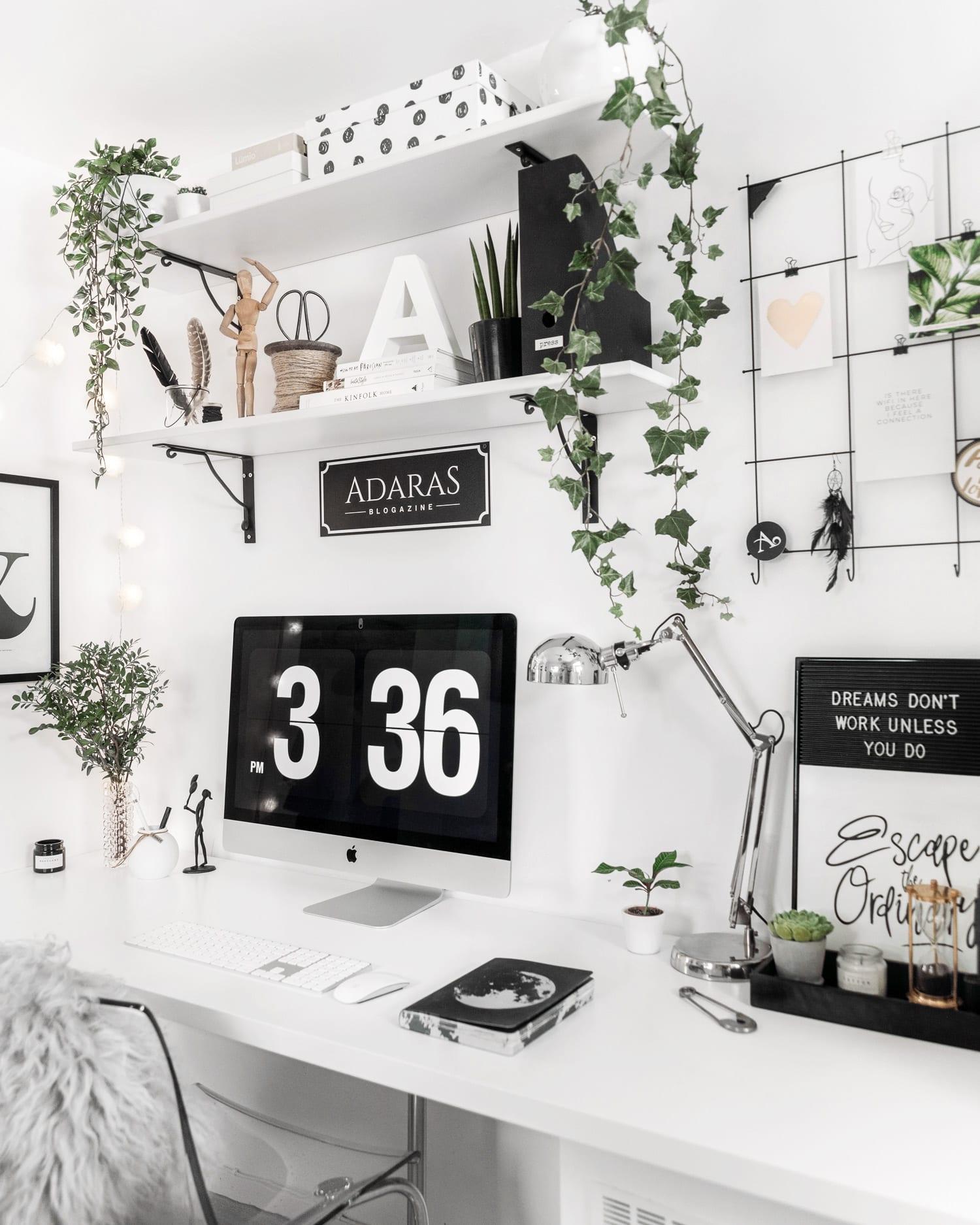 Hemmakontor med skandinavisk design och minimalistisk inredning