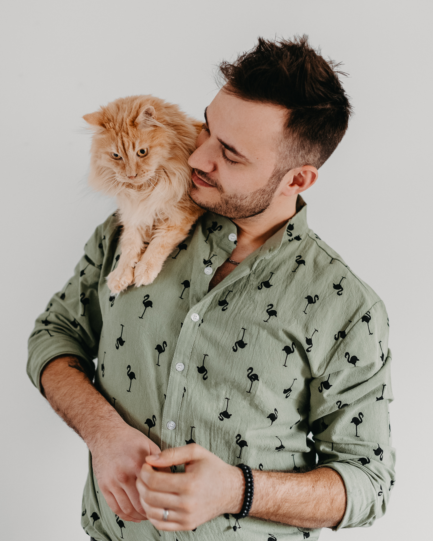 Cute furry cat sitting on man's shoulder