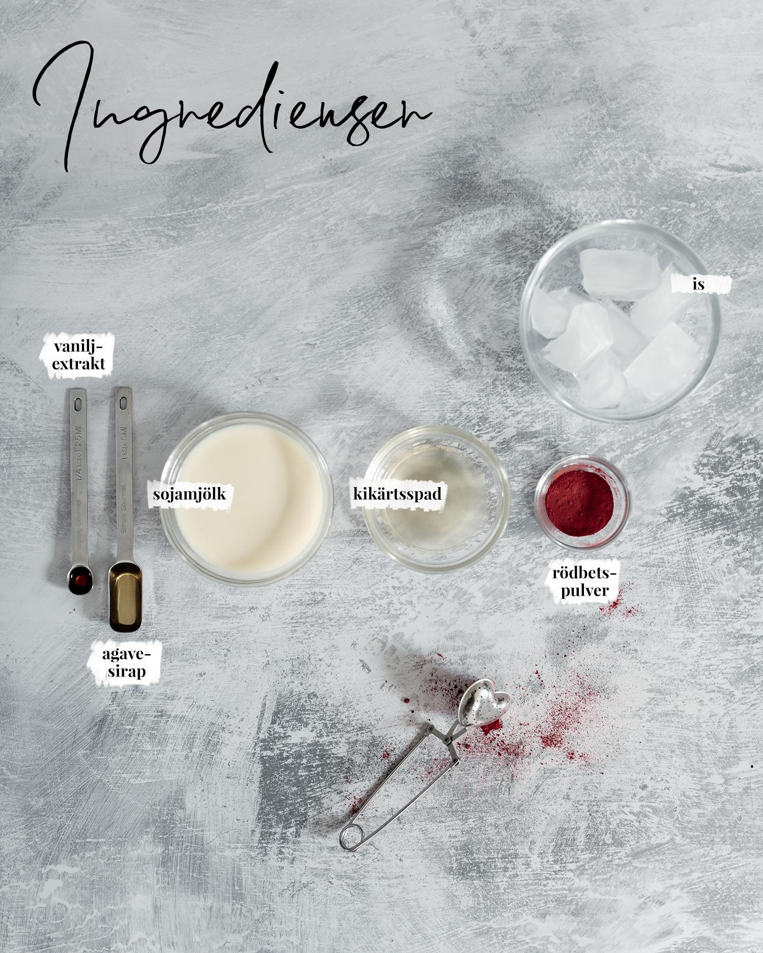 Ingredienser till Dalgona rödbetslatte
