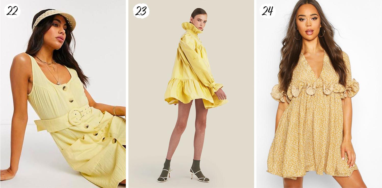 Korta gula klänningar SS20