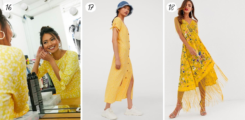 Solgula långklänningar 2020
