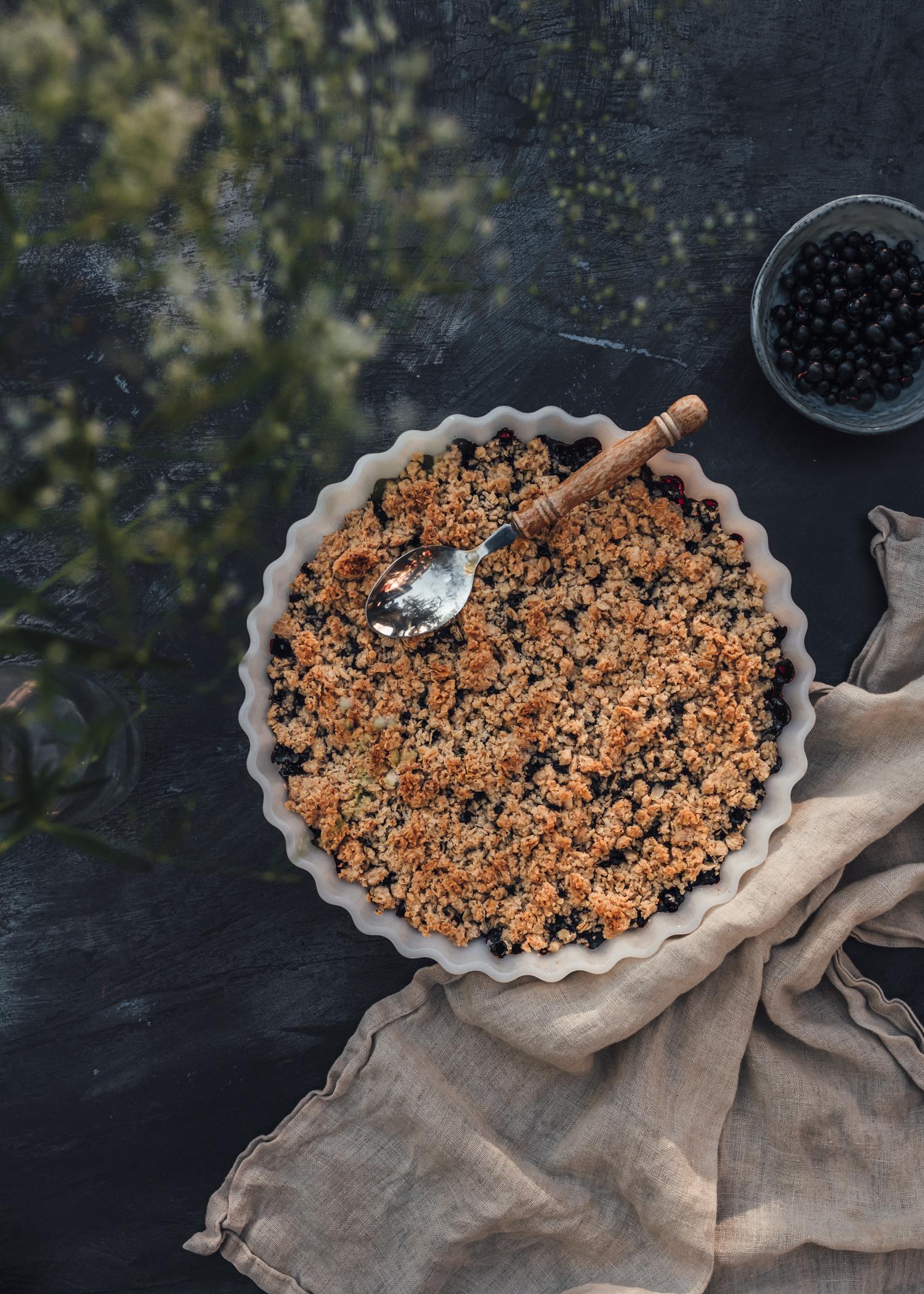 Blåbärspaj med smuldeg - Enkelt veganskt recept