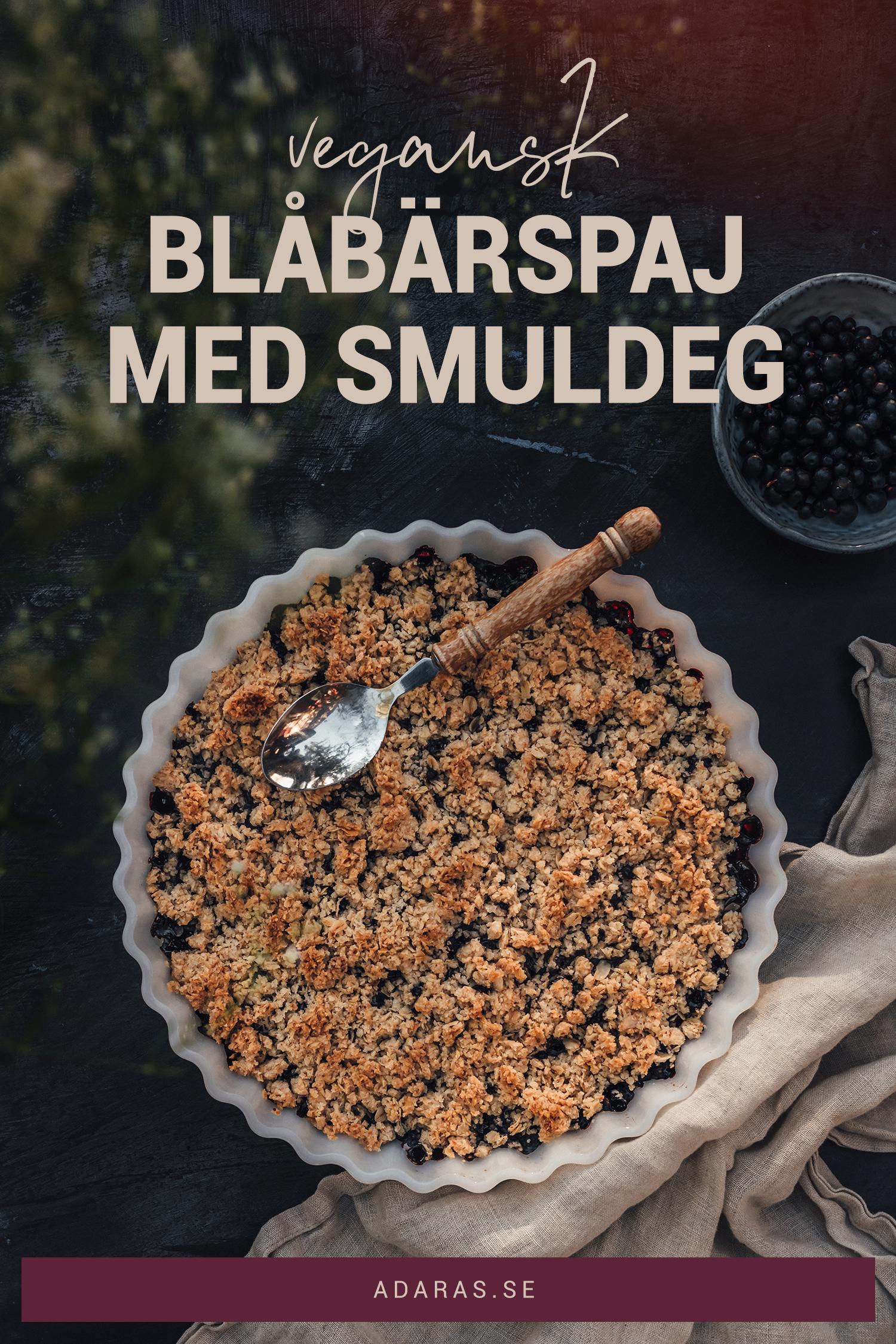 Recept - Vegansk blåbärspaj med smuldeg