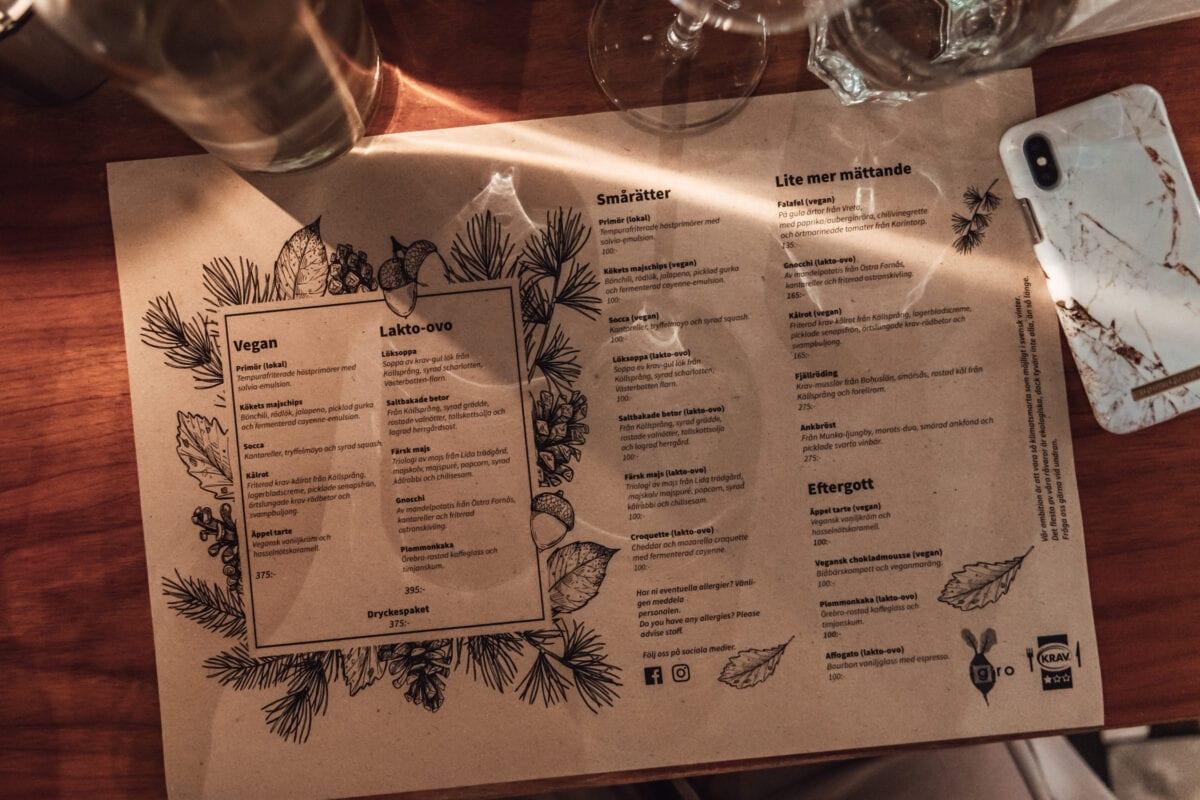 Klimatsmart, vegansk och vegetarisk meny på Matbaren Gro på Stallbacken i Örebro