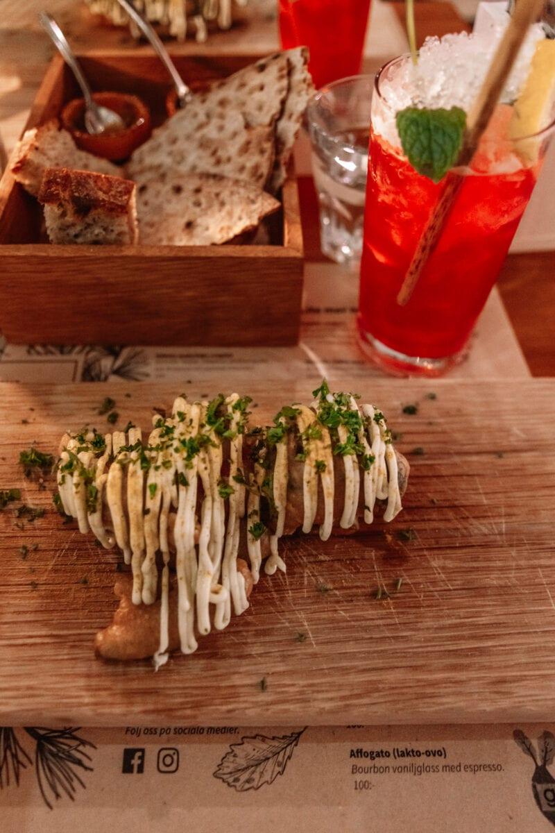 Veganska tempurafriterade höstprimörer på restaurang Gro Stallbacken